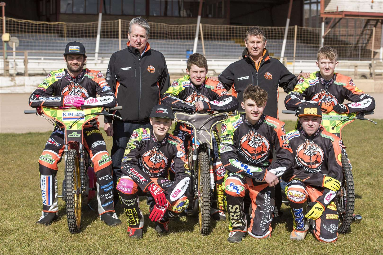 Mildenhall Fen Tigers Pre season practice day...Mildenhall Fen Tigers 2018 - Back row Left to right: Danny Ayres, Phil Kirk (team manager), Josh Bailey, Kevin Jolly (promoter), Jordan Jenkins. Front row left to right: Drew Kemp, Sam Bebee, Ryan Kingsley...Picture Mark Westley. (4710583)