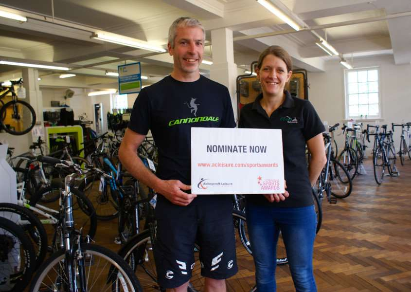 HELPING HAND: Jamie and Sarah Wightman from Revel Outdoors, the first sponsor announced for the 2015 St Edmundsbury Sports Awards