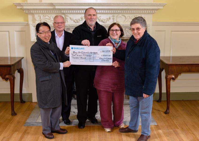 The Bury St Edmunds Society presents a �15,000 cheque to the BSE Heritage Trust at The Guildhall.