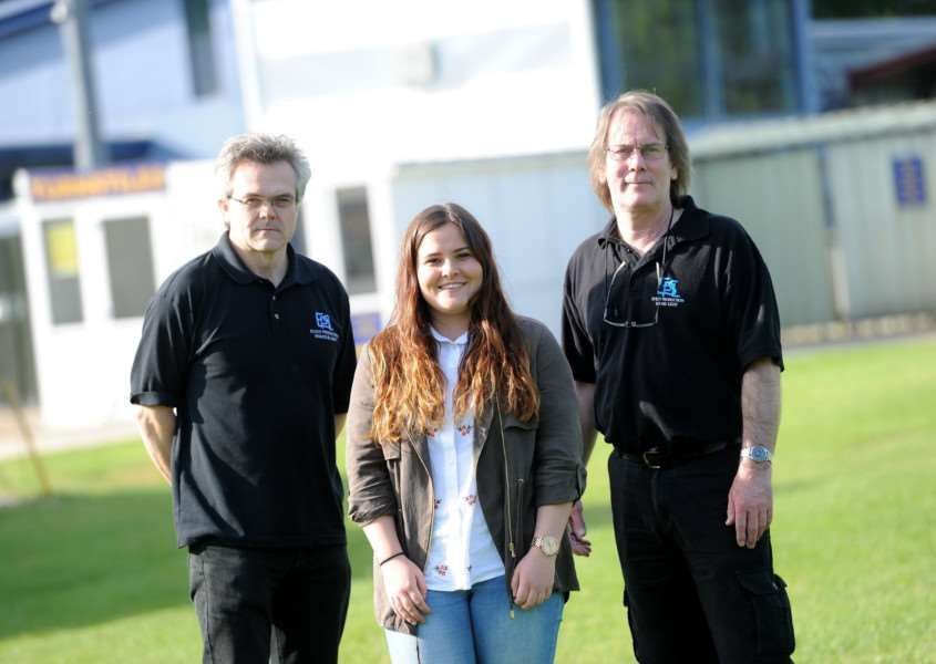Abbie Tosh is organising a music festival in memory of her brother Arran Tosh who died from a brain tumour in 2014. Pictured: Graham Naylor and Nigel Booth EPSL with Abbie Tosh. PICTURE: Mecha Morton