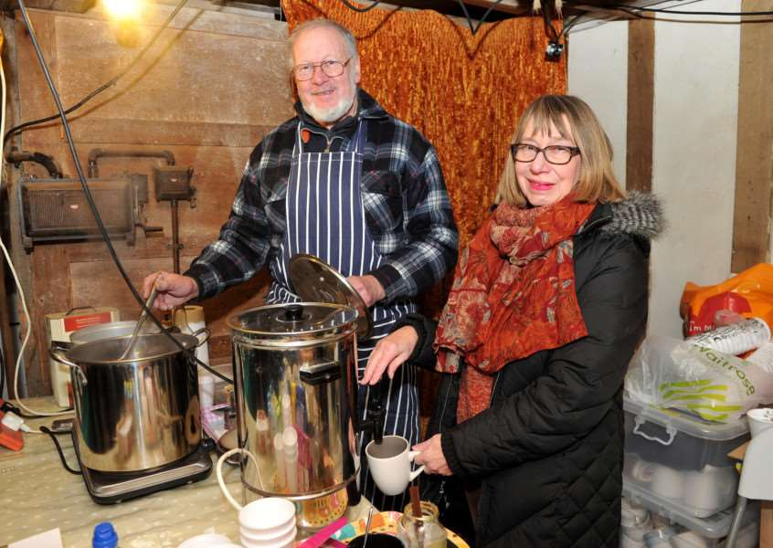 Alderford Mill craft fair''Pictured: Volunteers Owen Hawkes and Ann Beard ANL-151122-203426009