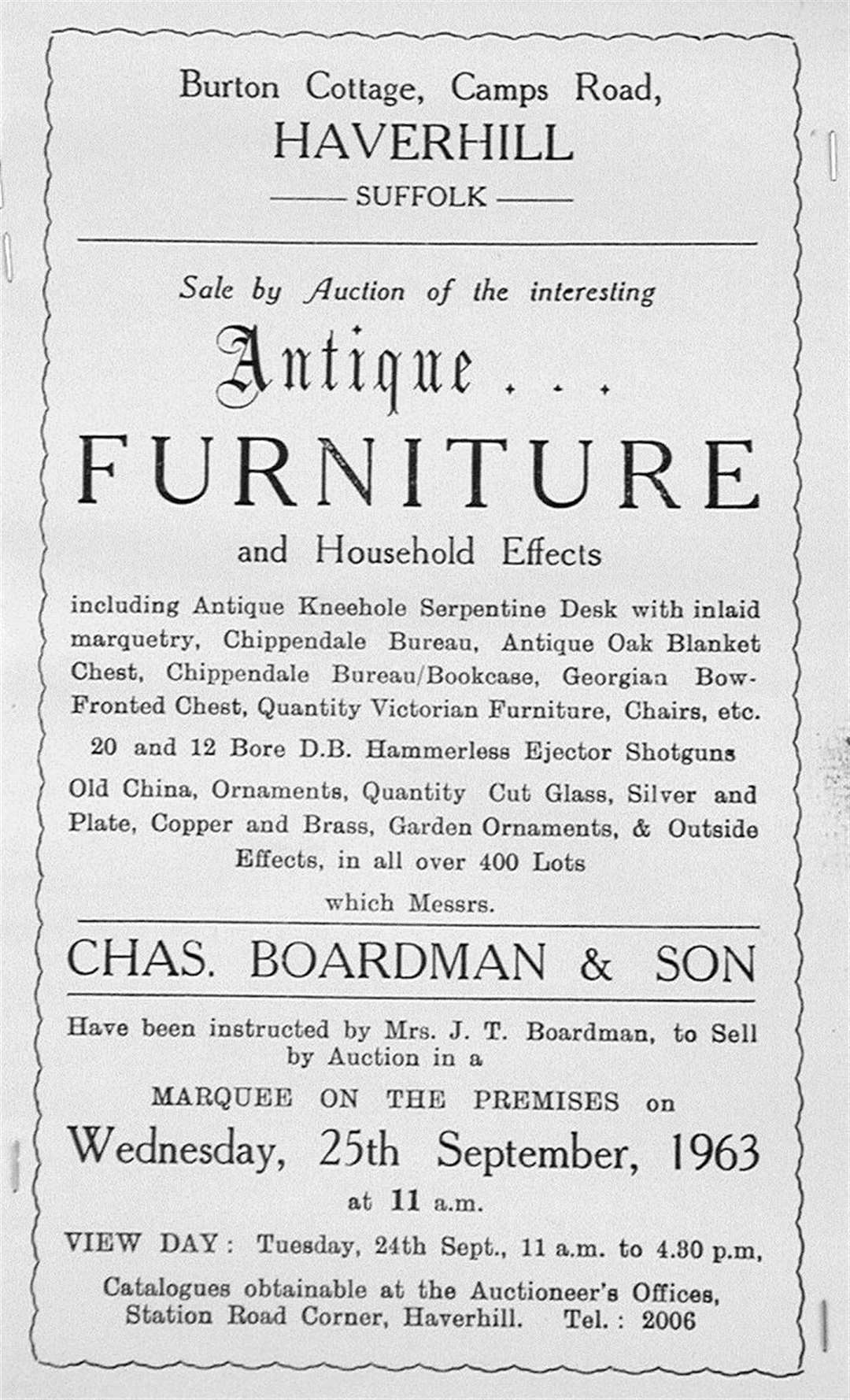 The catalogue for the 1963 sale by Chas. Boardman & Son of items from Burton Cottage in Haverhill. Picture: Neil Lanham