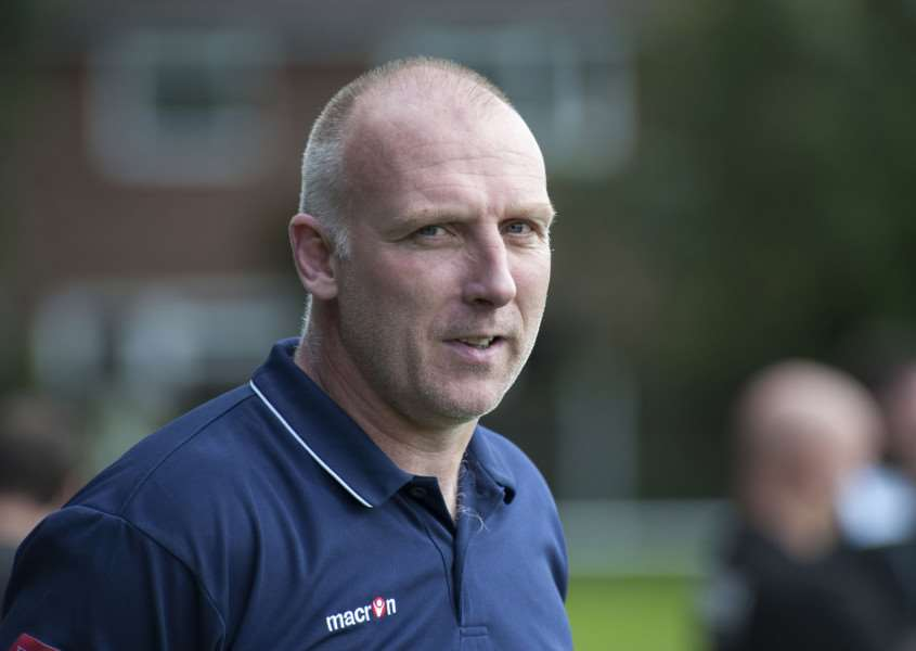 IMPROVING: Cornard United boss Chris Tracey is keen for his side to carry on their recent positive form by reaching the final of the Suffolk Senior Cup.