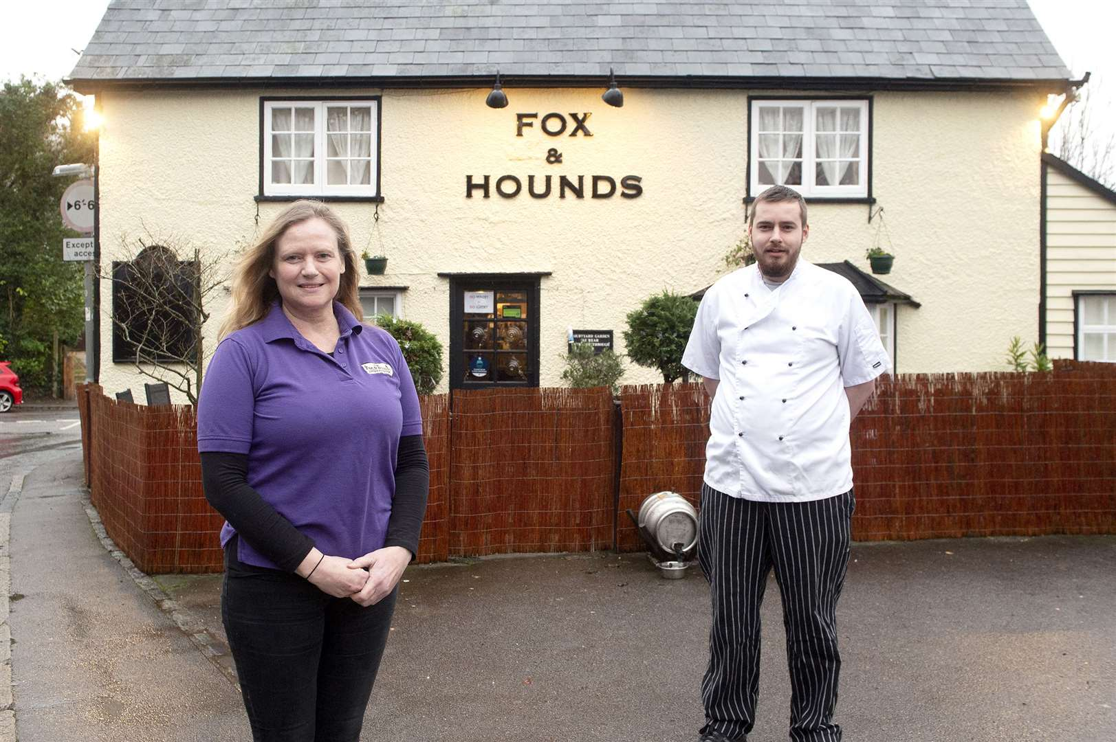 Kate Irwin, the owner of the Fox and Hounds in Steeple Bumpstead, along with head chef David Jackson. Picture by Mecha Morton.