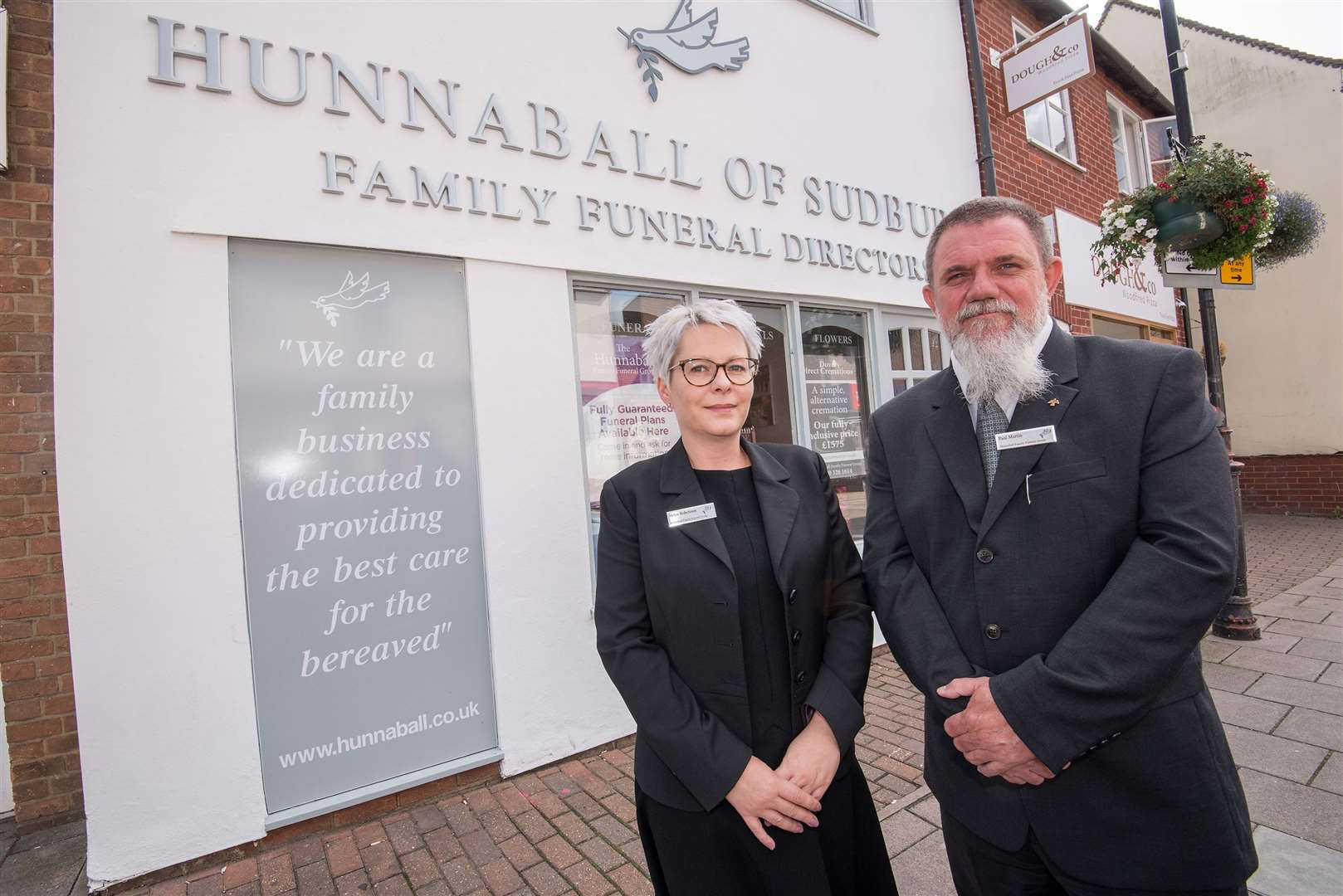 Hunnaball of Sudbury, New House, 62a North Street, Sudbury.Hunnaball Family Funeral Group..The company have just completed a renovation and upgrade of their premises in North .Street. .Helen Robertson, community funeral director and Paul Martin, their area manager. Picture by Mark Westley. (15509045)