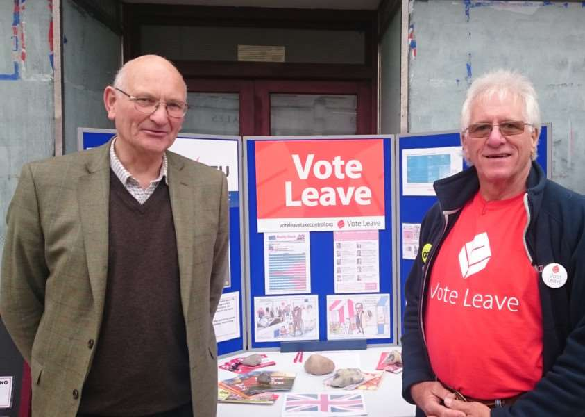 UKIP MEP Stuart Agnew (left) with Geoff Lazell, constituency co-ordinator for the Vote Leave campaign in South Norfolk. ANL-160306-133316001