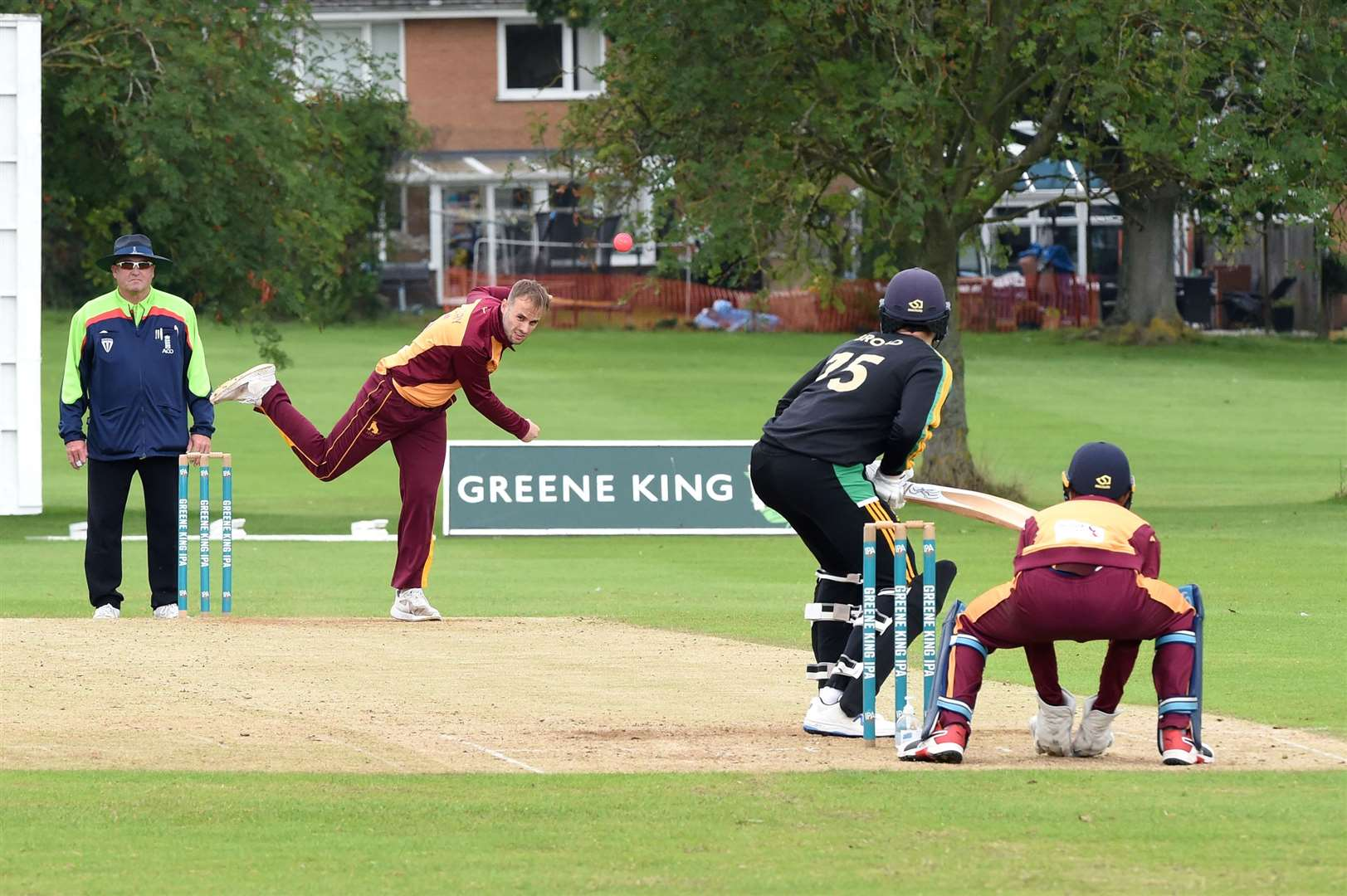 Ryan Vickery bowling for Sudbury in their victory at Bury St EdmundsPicture: Mecha Morton