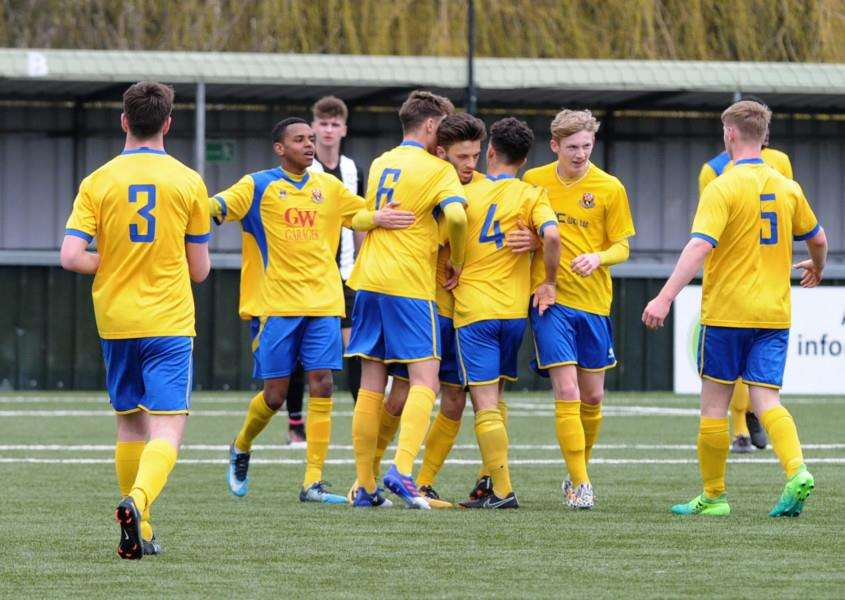 JOYOUS SCENES: AFC Sudbury Reserves celebrate one of their two goals Picture: Mecha Morton
