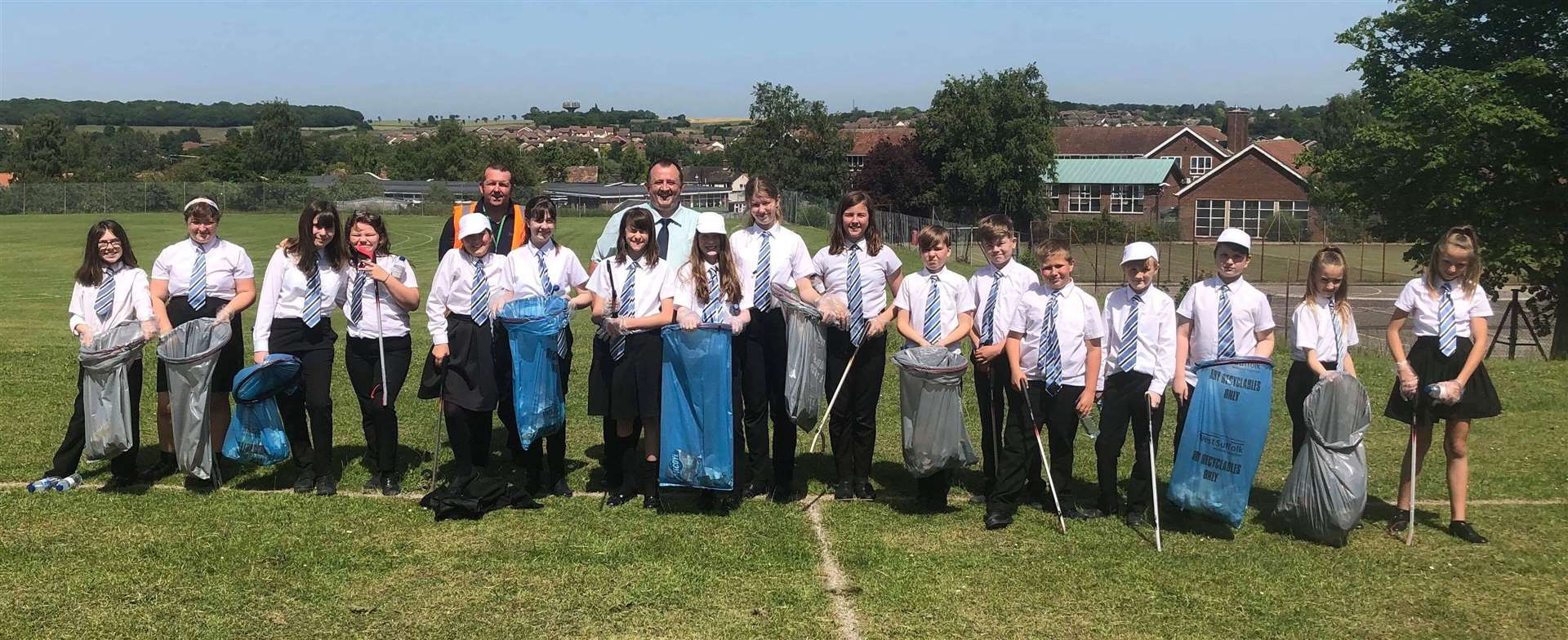 Some of the Castle Manor Academy students and staff out on their litter pick. Contributed picture