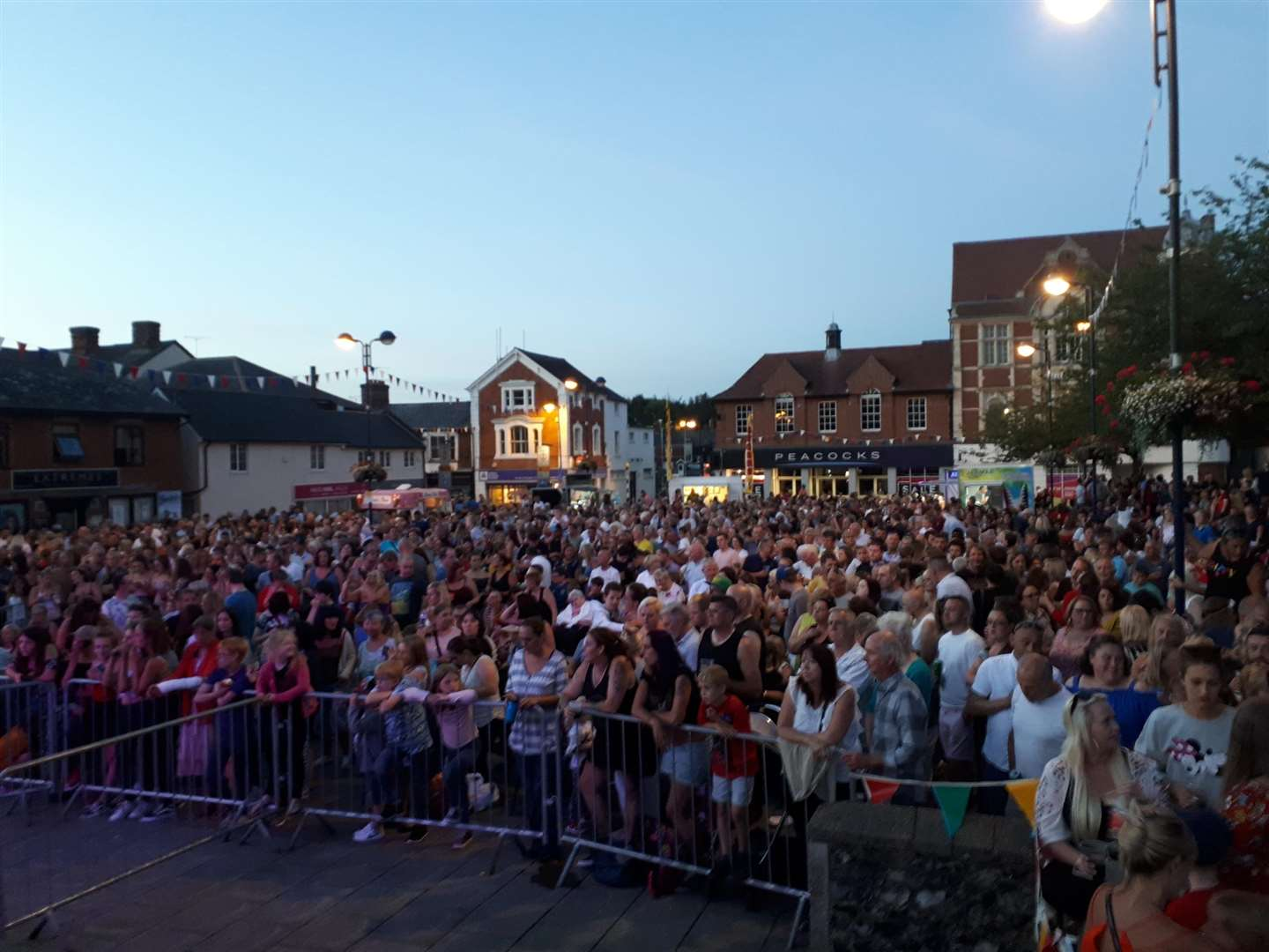 A huge crowd enjoying the Great Big Tribute Night 1 in Haverhill's Market Square (3450999)