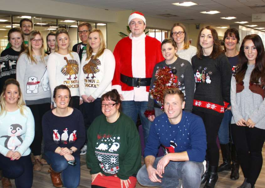 Staff at Greene King take part in Christmas Jumper Day ANL-161221-135435001