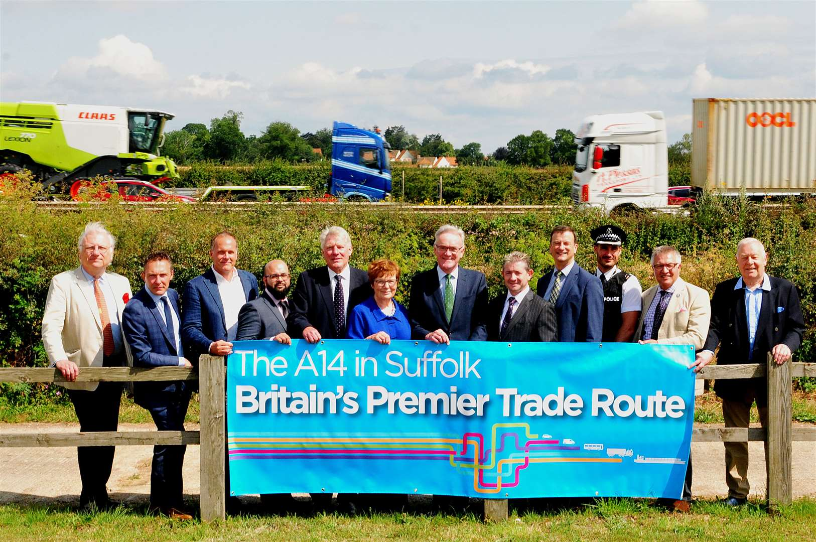 Members of the No More A14 Delays in Suffolk campaign at CLAAS UK's offices overlooking the road. Picture: David Garrad(13933240)