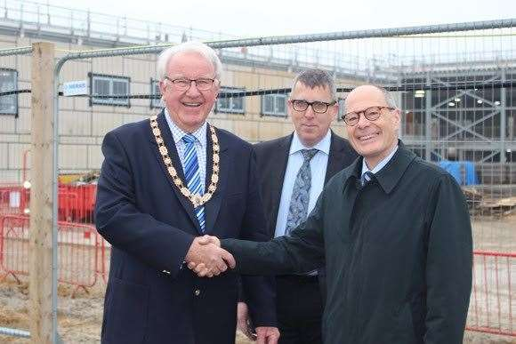 Cllr Brian Harvey, chair of West Suffolk Council, welcomesDr Jorg Hoffmann, deputy director of healthcare for Public Health England andPeter Gidman Deputy Director Head of Estates and Facilities for Public Health England(30294351)