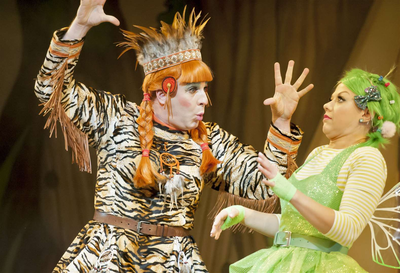 Chris Clarkson as Tiger Lily and Anna Campkin as Tinkerbell. Picture: Tony Kelly