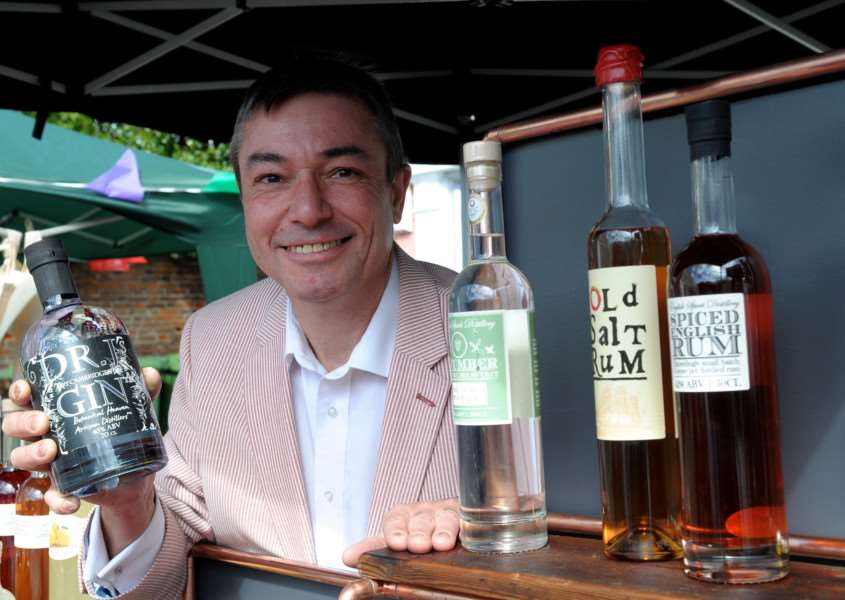 Clare, Suffolk. Clare's monthly market returns after an absence of 20 years. Pictured is Steve Harper of English Sprit Distillery in Great Yeldham.''Picture: MARK BULLIMORE