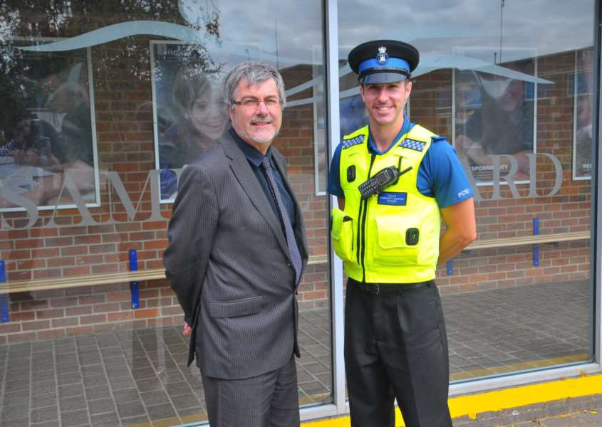 Samuel Ward Academy principal Howard Lay with the school's first PCSO Lee Woodward in 2012