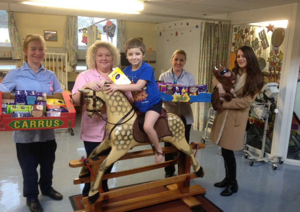 The Crack On Foundation presented Easter eggs to St Nicholas Hospice Care as well as A&E, the Rainbow Ward, antenatal ward and birthing unit at West Suffolk Hospital ANL-150404-110840001