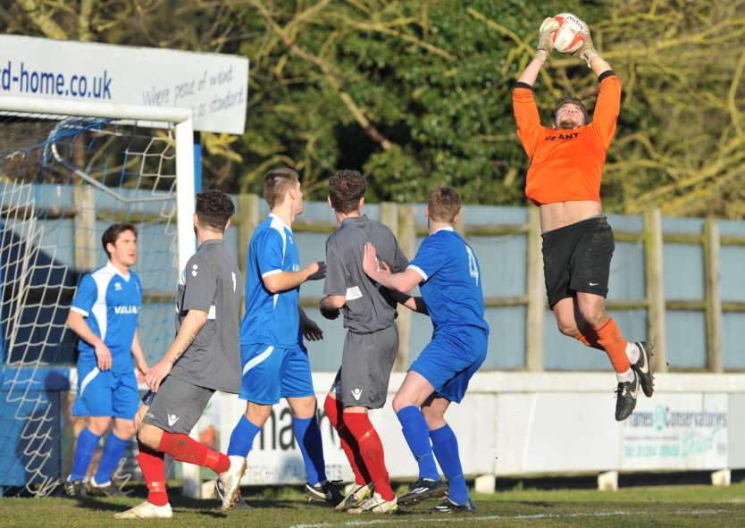 CLEAN SHEET: Craig Brand claims a cross during Team Bury's goalless draw against Haverhill Borough in the Thurlow Nunn First Division on Saturday