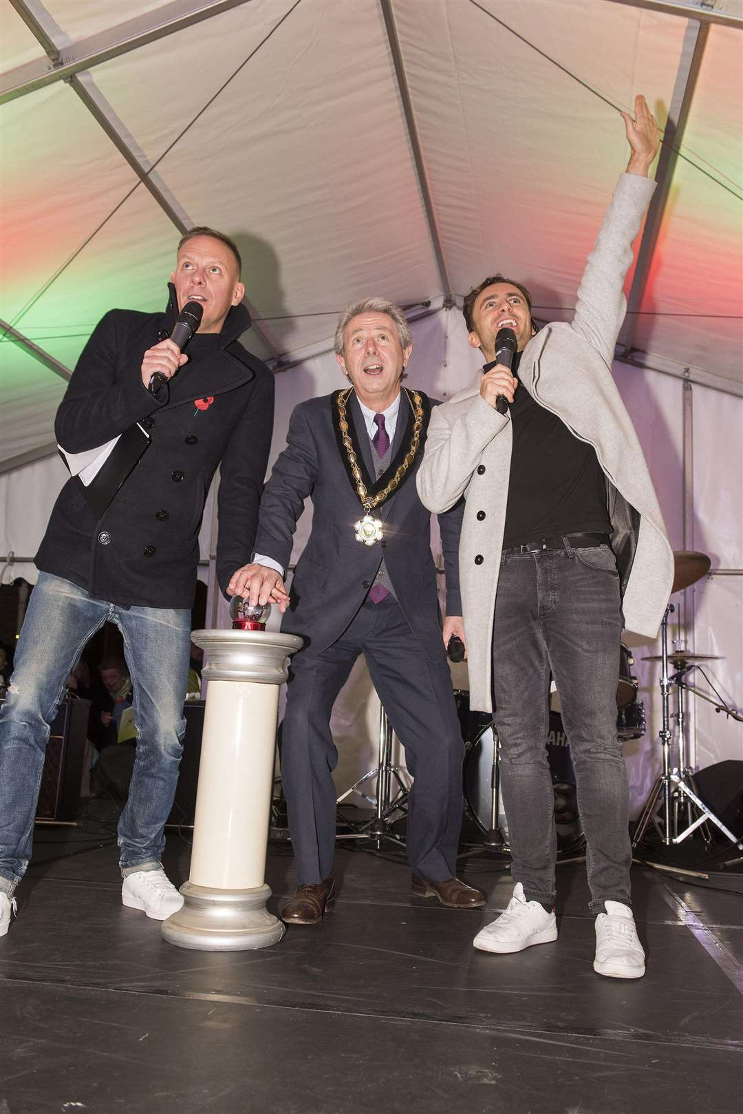 Last year the Christmas lights were switched on by Coronation Street's Anthony Cotton and Cllr Andy Drummond, who was Newmarket's mayor