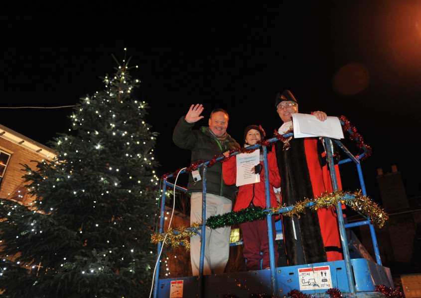 Sudbury mayor Jack Owen will again switch on the lights in Sudbury. Pictured Christmas lights switch-on in 2012 Mark Murphy, Paige Cordy and Jack Owen ENGANL00120120312131940