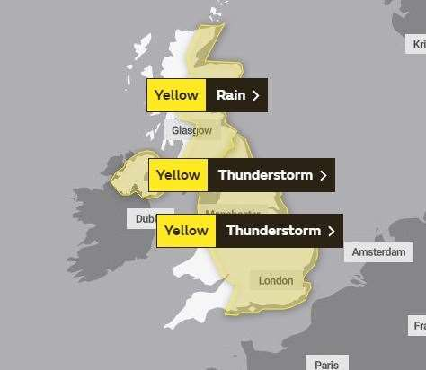 The warning posted by the Met Office for Monday, June 24 (12891179)