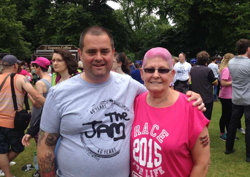 Janice Knightson, pictured with son Stephen, of Bury St Edmunds, took part in her Race for Life at the age of 68, raising nearly �500. ANL-150628-143955001