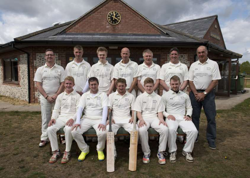 WINNING START: Lakenheath players pose for the cameras ahead of their victory over Mildenhall II