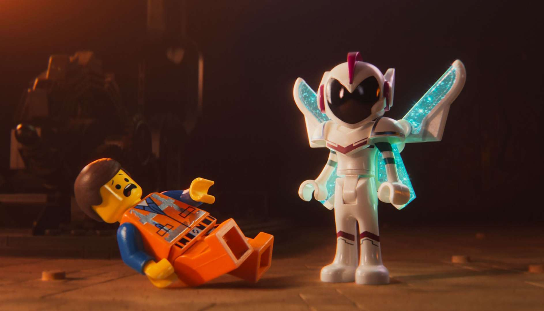 Undated film still handout from The Lego Movie 2. Pictured: Emmet (voiced by Chris Pratt) and General Mayhem (Stefanie Beatriz). Picture: PA Photo/Warner Bros. Entertainment Inc. All Rights Reserved.