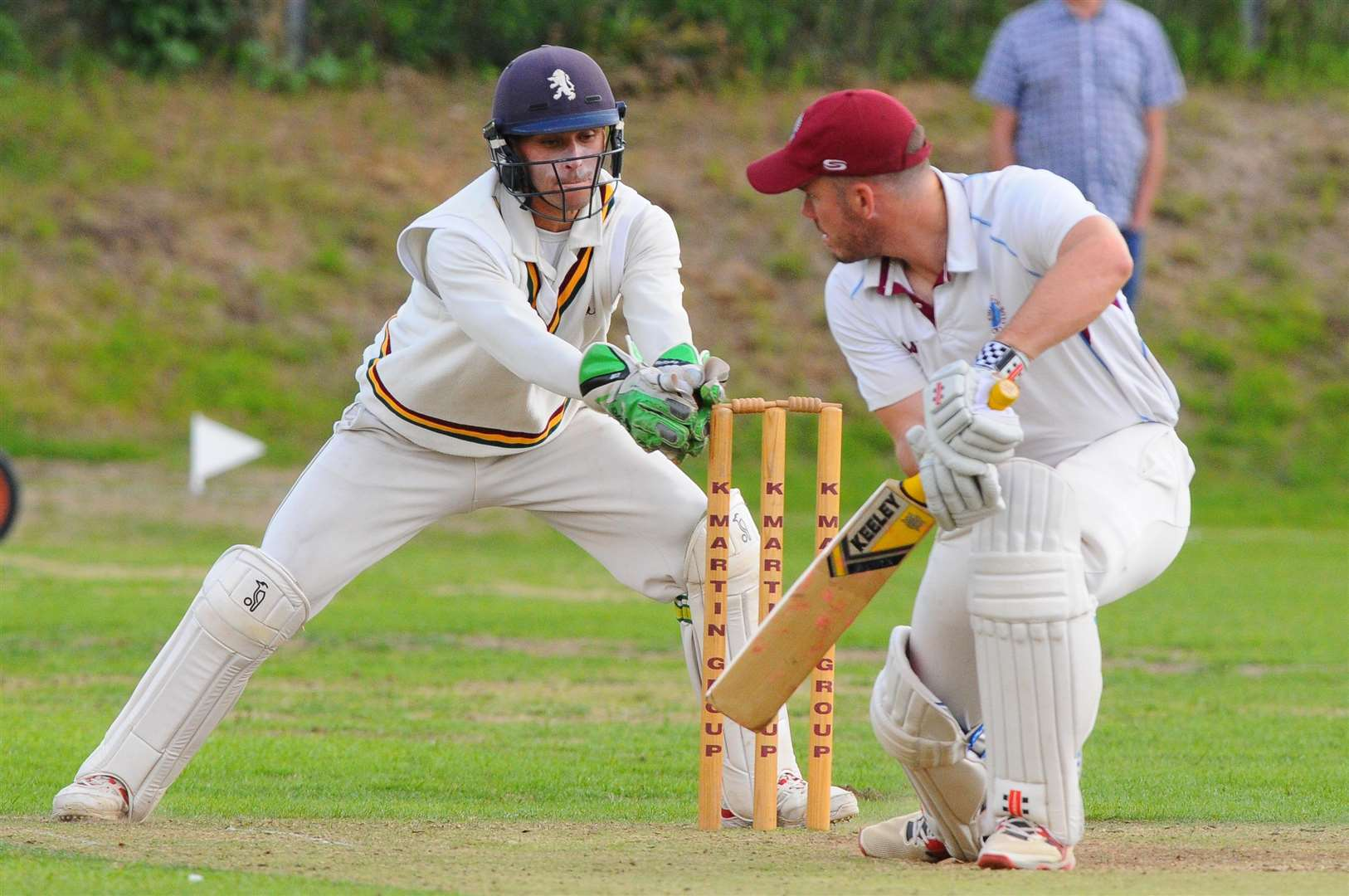 ALMOST: Sudbury wicketkeeper Adam Mansfield tries in vain to catch out a Swardeston batsman Picture: Mark Bullimore
