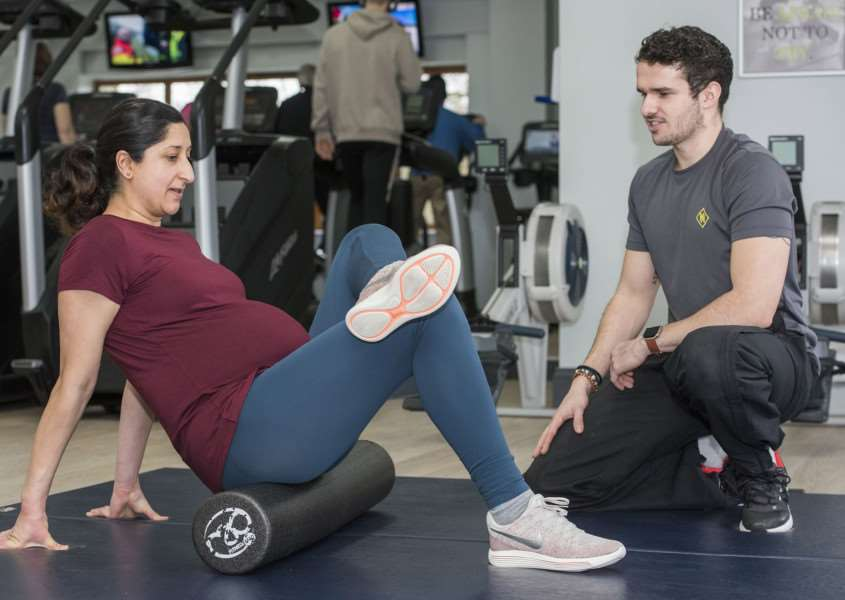 Personal trainer Ollie Runswick will be putting pregnant client Arti Odedra through her paces during one the of the pre-natal personal training sessions he runs at the Health Hub. Picture Mark Westley