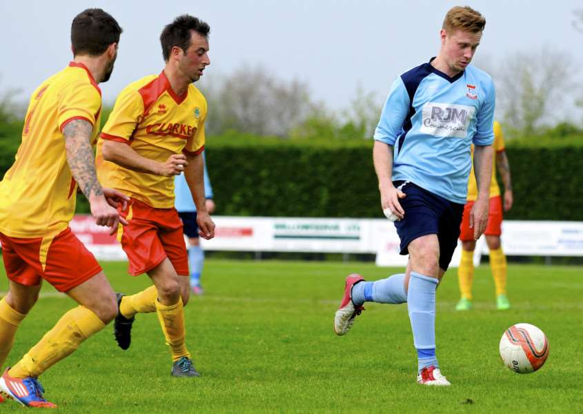 NEW FACE: Josh Curry (right, pictured playing for Diss) has signed for Mildenhall