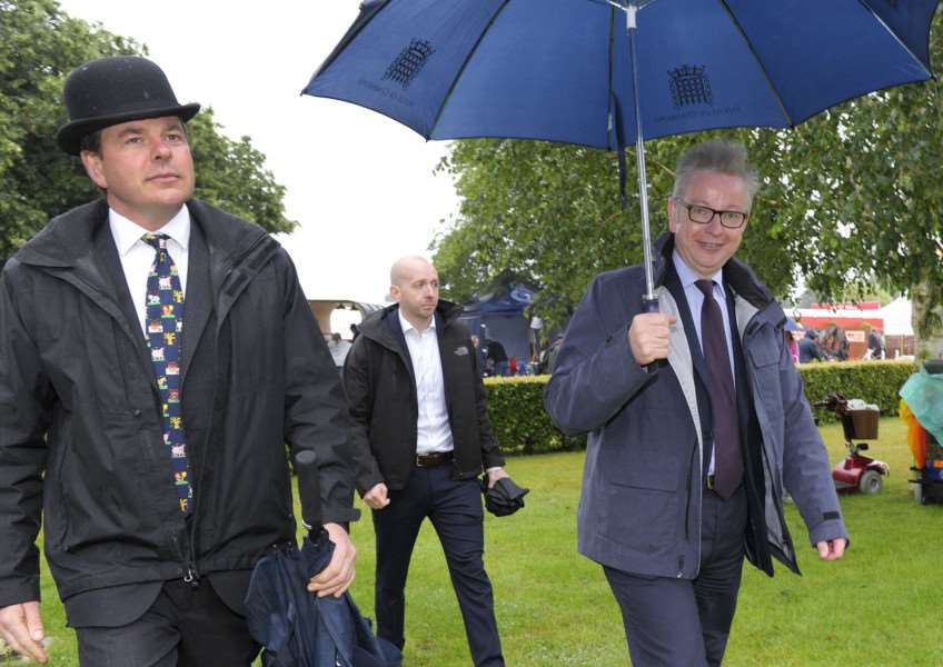 Scenes from The Royal Norfolk Show Norwich 2017 (Day 1 Wednesday)'Environment Secretary Michael Gove (right) during his visit to the Royal Norfolk Show on Wednesday, he is seen her with Rob Alston (left) (Vice Chairman)