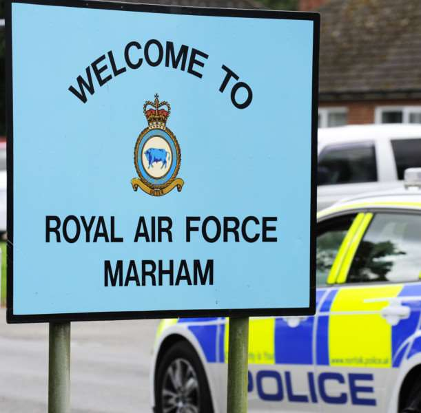 Media briefing on RAF Marham attempted abduction investigation, near to where the incident had taken place ANL-160727-154944009
