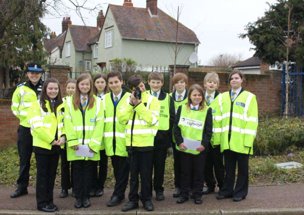Year seven students at Stour Valley Community School in Clare carry out speed checks with PCSO Sophie Mitchell as part of their Safety Day