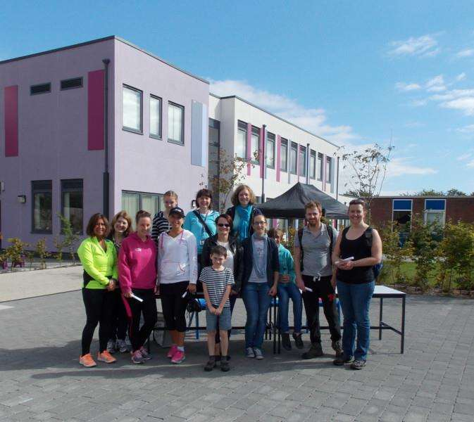 Some of the participants in the Churchill School's sponsored walk gather before their departure ANL-150928-084308001