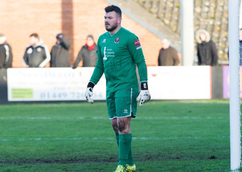 INJURED: Sudbury goalkeeper Marcus Garnham came off against Leatherhead with a foot injury