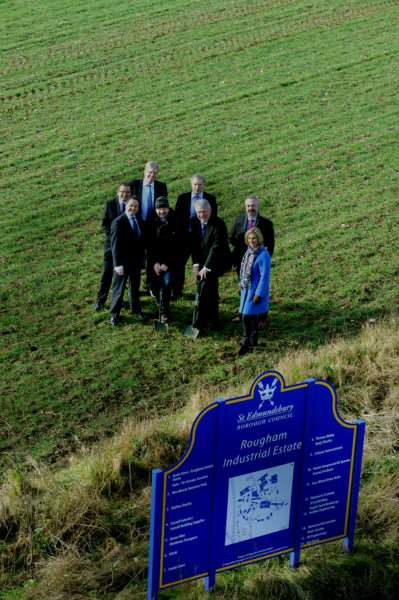 L-R Chris Starkie of New Anglia LEP, Suffolk County Cllr Robert Whiting,'Stephen Clark of Churchmanor, Sir George Agnew of Rougham Estate, 'Andrew Wilson and Mark Edmonds of Taylor Wimpey , Cllr John Griffiths and Cllr Sara Mildmay-White of St Edmundsbury Borough Council. ANL-160225-124804001