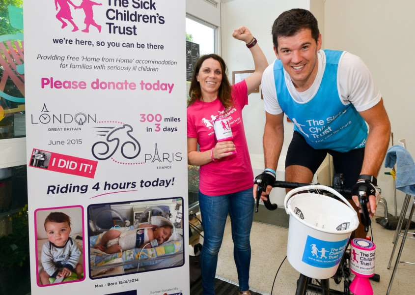 Glenn Lesiak was cycling at Waitrose in Sudbury to raise money for the Sick Children's Trust, after the Trust helped their Son Max. Glenn with Partner Diane Wilkins. ANL-150628-160734009