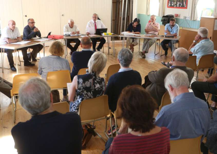Councillors and members of the public speak at an extrordinary meeting of the Foxearth & Liston Parish Council where the proposed Stafford Park development was on the agenda.'Pic - Richard Marsham