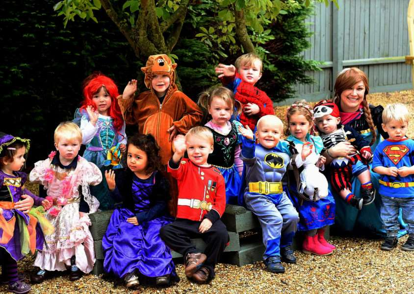 Staff and children from the Nursery at Cherry trees School, Risby that took part in a fancy dress day to raise funds for the Crackerjacks Children's Trust ANL-151020-162105009