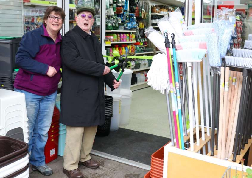 Jill Sainsbury and her father Colin Hawkins at the opening of Handy Hardwares, in Stowmarket