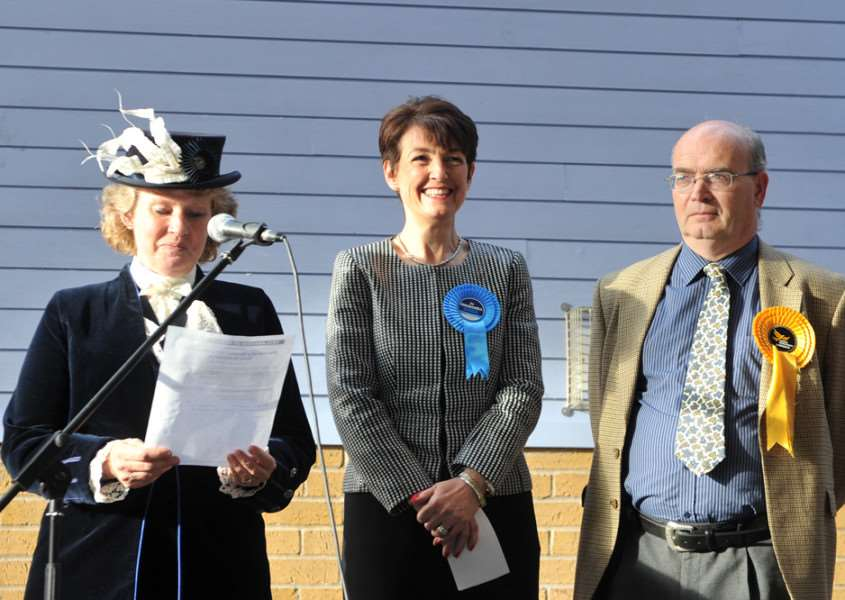 Jo Churchill, the Conservative MP for Bury St Edmunds. Pictured with High Sheriff of Suffolk Judith Shallow and David Chappell, Liberal Democrat candidate. ANL-150805-072807001
