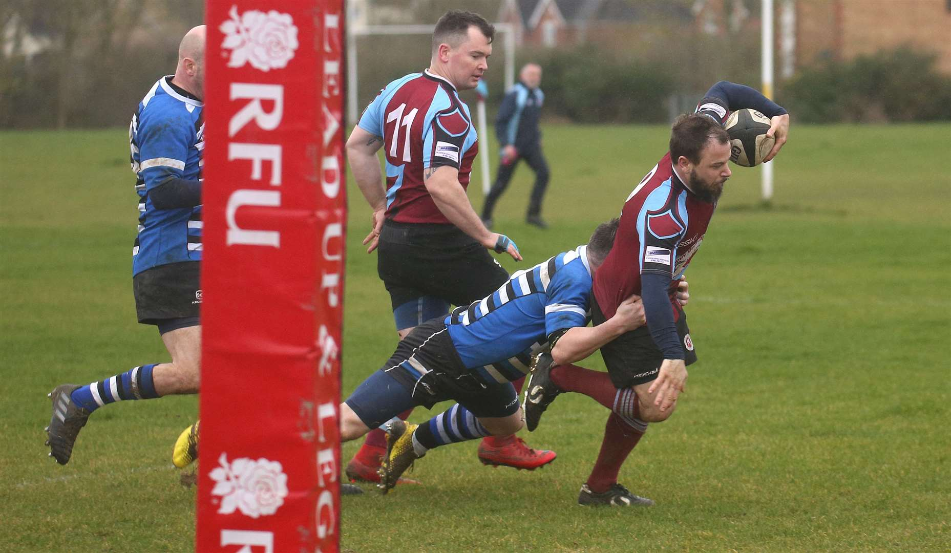 Haverhill v Sawston - No9 goes over for a try.(No team sheet available - I've put in shirt numbers so you can get names from the club).Pic - Richard Marsham/RMG Photography. (29301909)