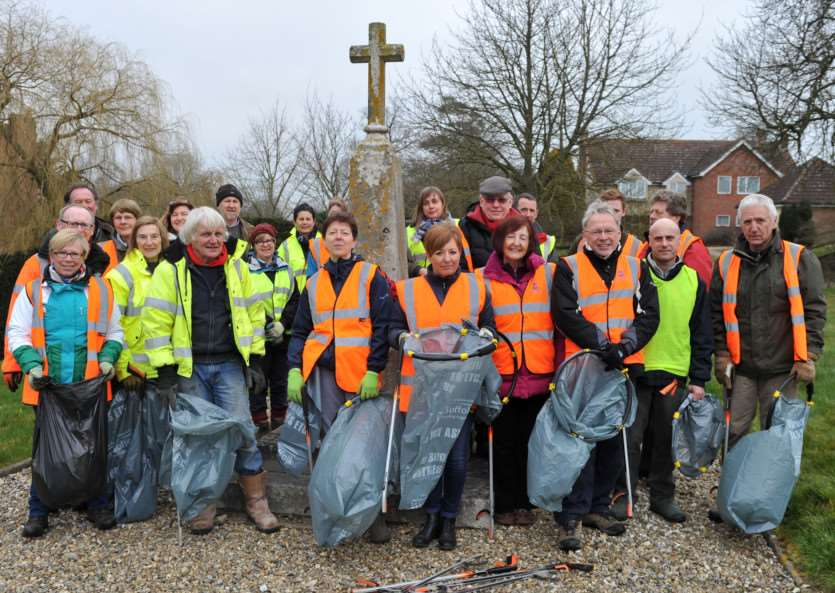 Volunteers carry out the Withersfield Spring clean.''Picture by Mecha Morton