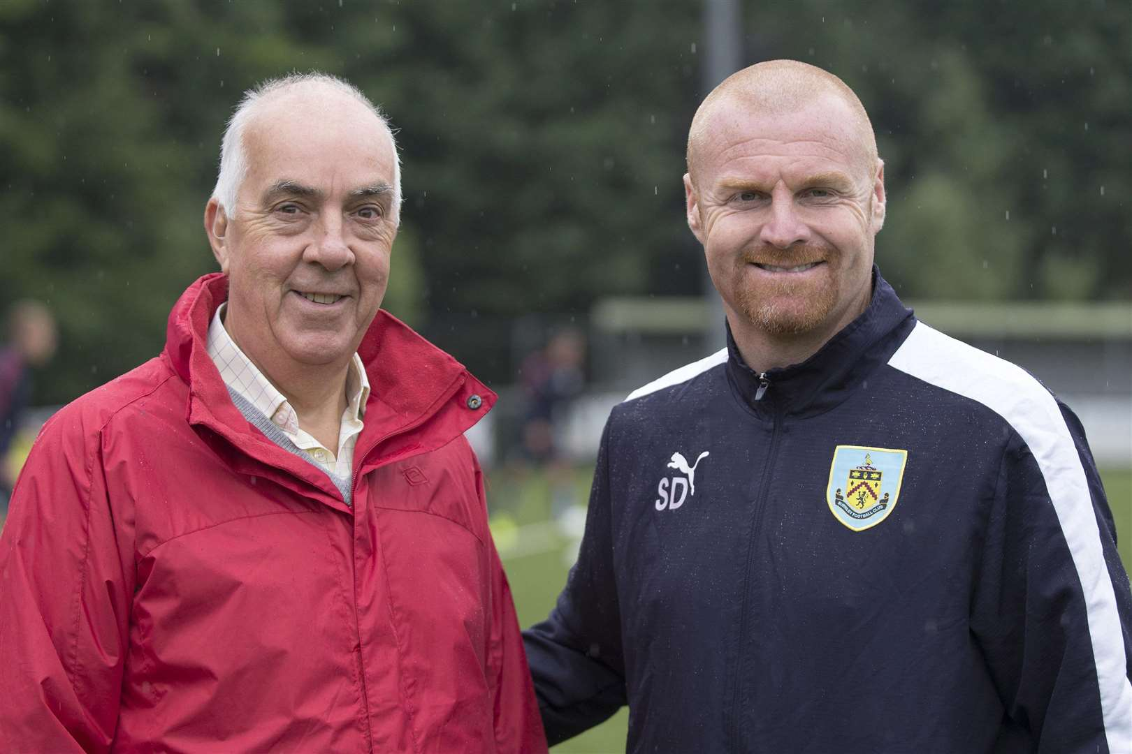 Championship team Burmley City train on AFC Sudburys new 3G allweather pitch before ther game at Ipswich Town..Philip Turner Sudbury chairman with Burnley manager Sean Dyche.Picture Mark Westley. (7014799)