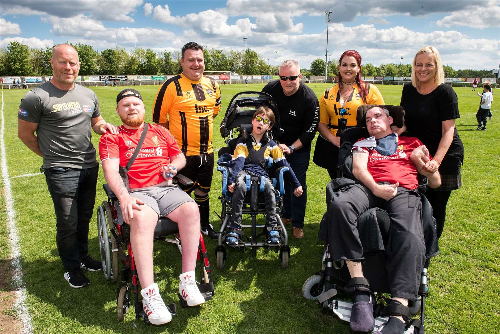 Ely City Football Club Cambridge United and Fans v Arsenal Charity Team supporting Simon Dobbin, Ryan Smith foundation and Owen Coleman. organisers Dave Boughtwood Eason and Beth Boughtwood-Eason, Ady and Owen Coleman, and Simon and Nicole Dobbin Picture Mark Westley (10363016)