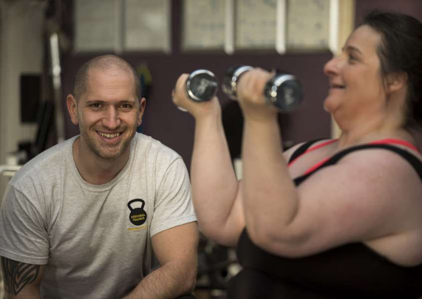Martin Arnold, Personal Trainer with client Diane Peters at Fitta Bodies Gym Bury St Edmunds'Picture Mark Westley ANL-161130-123509009
