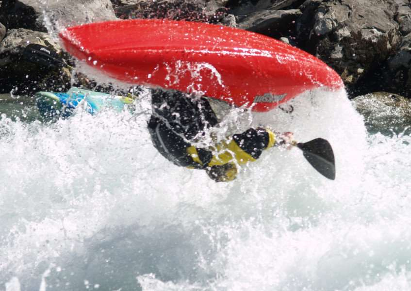 SKILLS: Ben halfway through a flip while training for Team GB Freestyle Kayaking