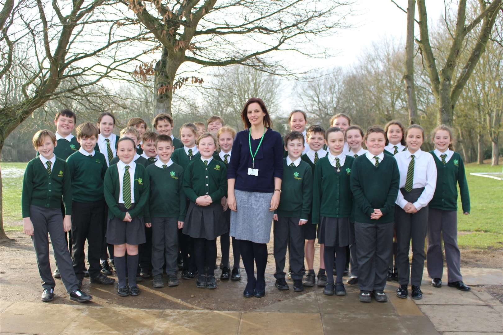 Vicky Doherty, the new headteacher at Kedington Primary Academy, with some of her pupils (6995369)