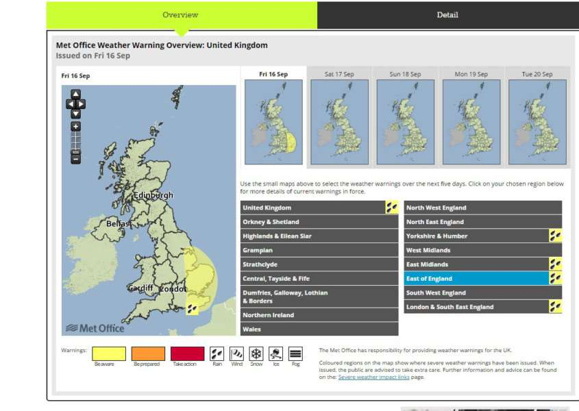 The Met Office weather warning map for today